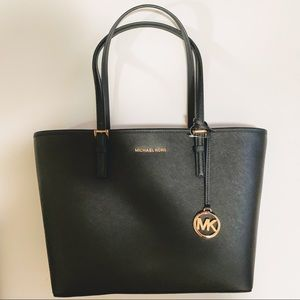 NWT Michael Kors Black Leather Jet Set Travel Tote